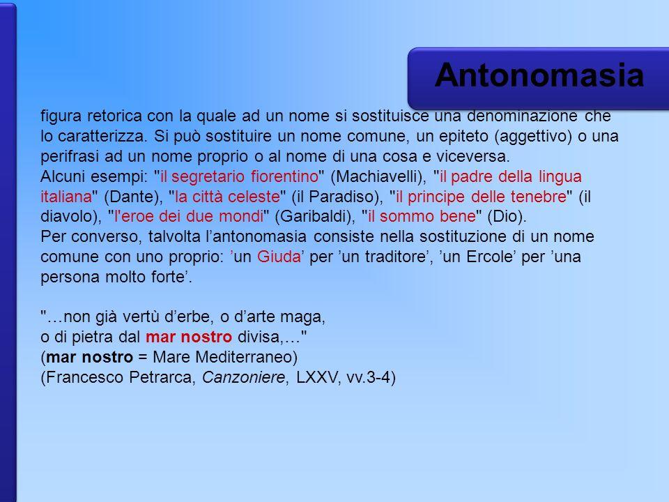 Antonomasia figura retorica con la quale ad un nome si sostituisce una denominazione che lo caratterizza. Si può sostituire un nome comune, un epiteto