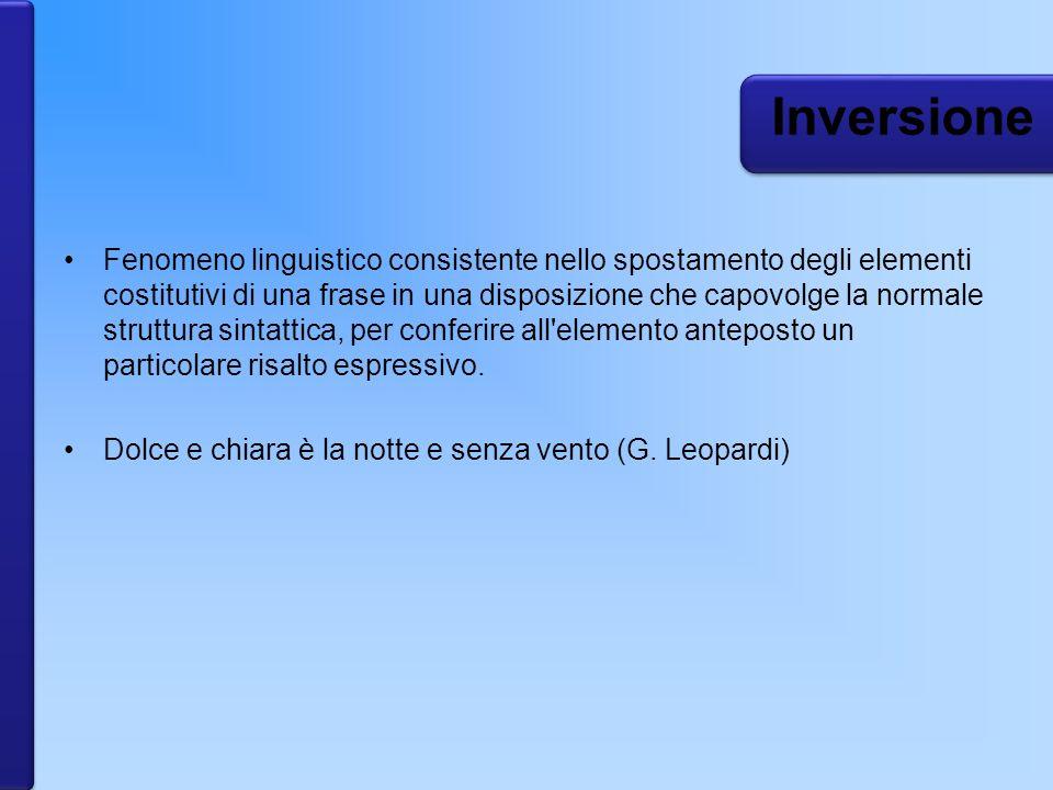 Fenomeno linguistico consistente nello spostamento degli elementi costitutivi di una frase in una disposizione che capovolge la normale struttura sint