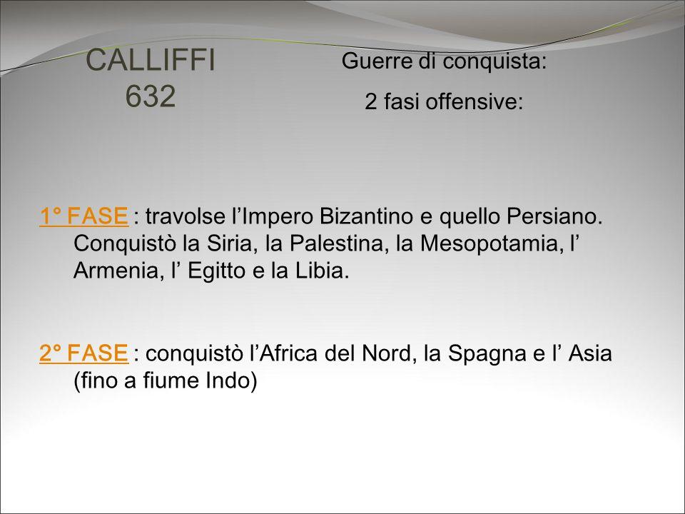CALLIFFI 632 Guerre di conquista: 2 fasi offensive: 1° FASE1° FASE : travolse lImpero Bizantino e quello Persiano. Conquistò la Siria, la Palestina, l