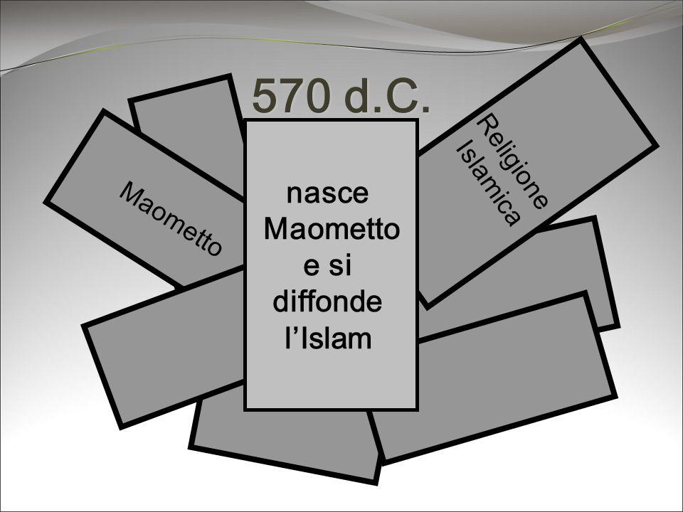 570 d.C. Maometto Religione Islamica nasce Maometto e si diffonde lIslam