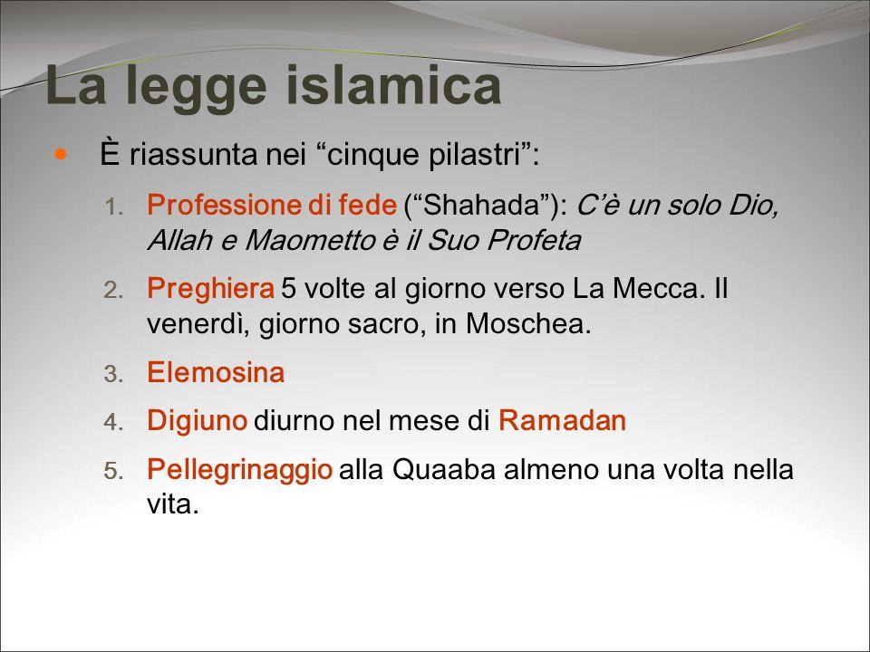 La legge islamica È riassunta nei cinque pilastri: 1. Professione di fede (Shahada): Cè un solo Dio, Allah e Maometto è il Suo Profeta 2. Preghiera 5