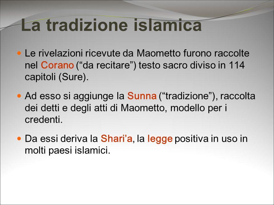 La tradizione islamica Le rivelazioni ricevute da Maometto furono raccolte nel Corano (da recitare) testo sacro diviso in 114 capitoli (Sure). Ad esso