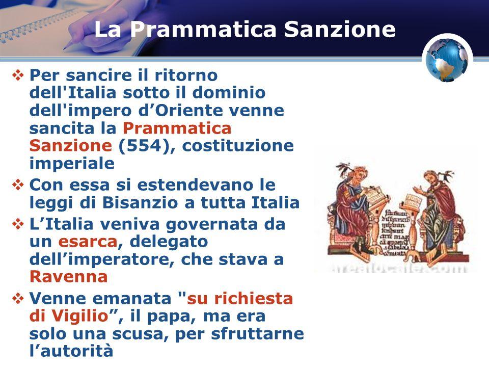 La Prammatica Sanzione Per sancire il ritorno dell'Italia sotto il dominio dell'impero dOriente venne sancita la Prammatica Sanzione (554), costituzio