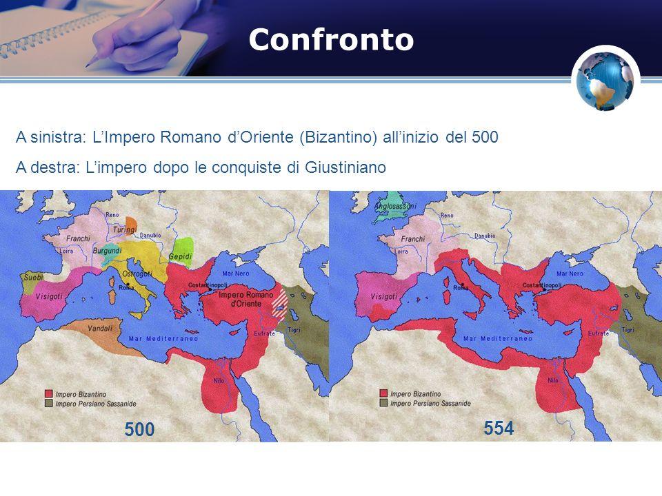 Confronto A sinistra: LImpero Romano dOriente (Bizantino) allinizio del 500 A destra: Limpero dopo le conquiste di Giustiniano 500 554