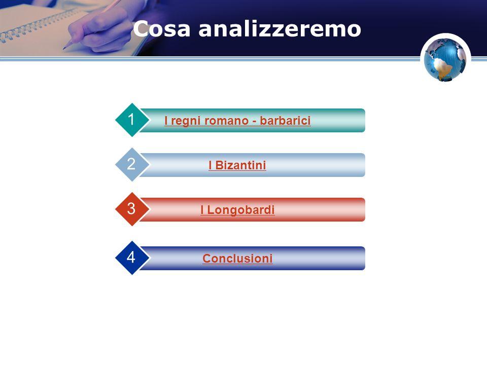 Cosa analizzeremo I regni romano - barbarici 1 I Bizantini 2 I Longobardi 3 Conclusioni 4