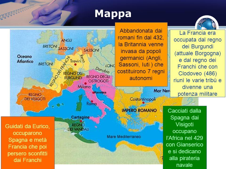 Mappa Cacciati dalla Spagna dai Visigoti occupano lAfrica nel 429 con Gianserico e si dedicano alla pirateria navale Guidati da Eurico, occuparono Spa