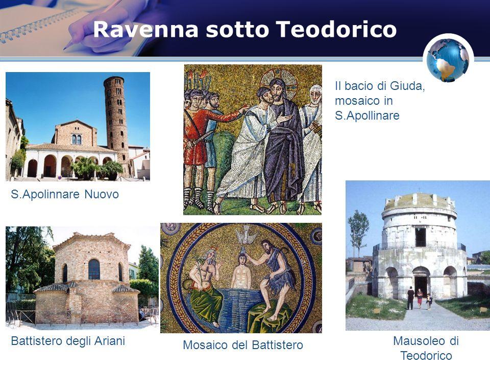 Ravenna sotto Teodorico S.Apolinnare Nuovo Battistero degli Ariani Il bacio di Giuda, mosaico in S.Apollinare Mausoleo di Teodorico Mosaico del Battis
