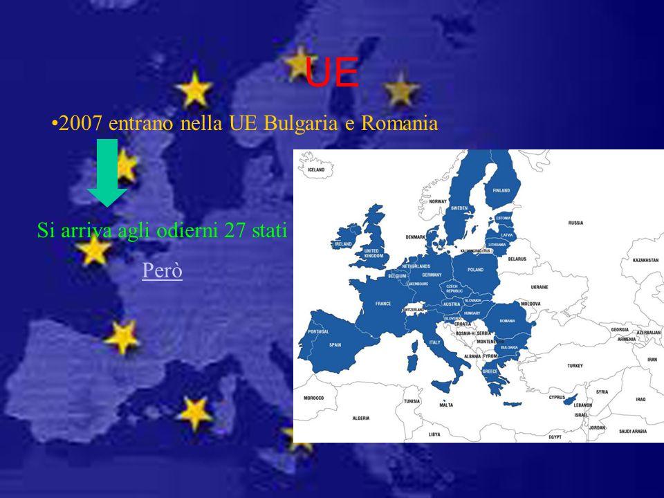 UE 2007 entrano nella UE Bulgaria e Romania Si arriva agli odierni 27 stati Però