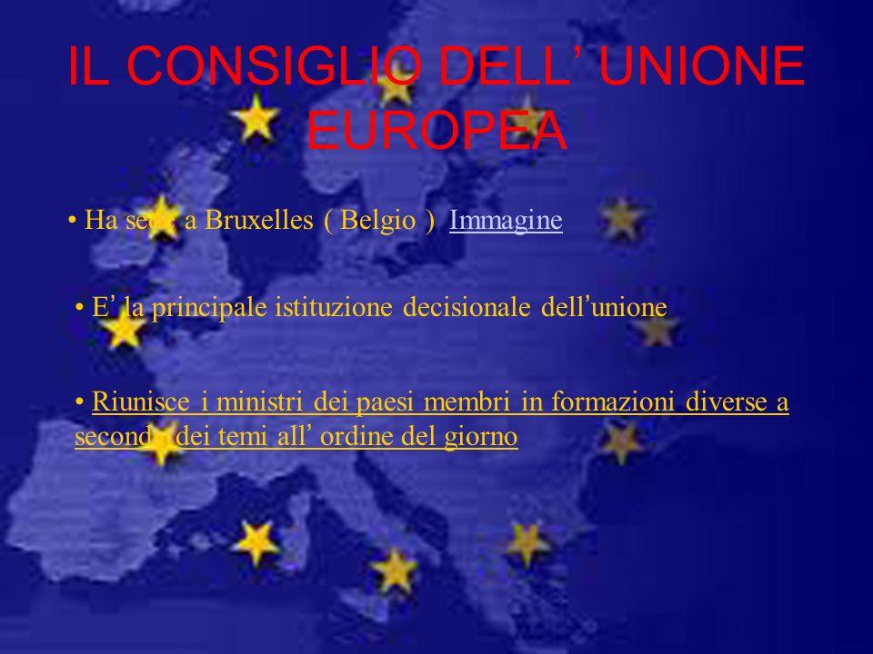 IL CONSIGLIO DELL UNIONE EUROPEA Ha sede a Bruxelles ( Belgio ) Immagine E la principale istituzione decisionale dellunione Riunisce i ministri dei pa