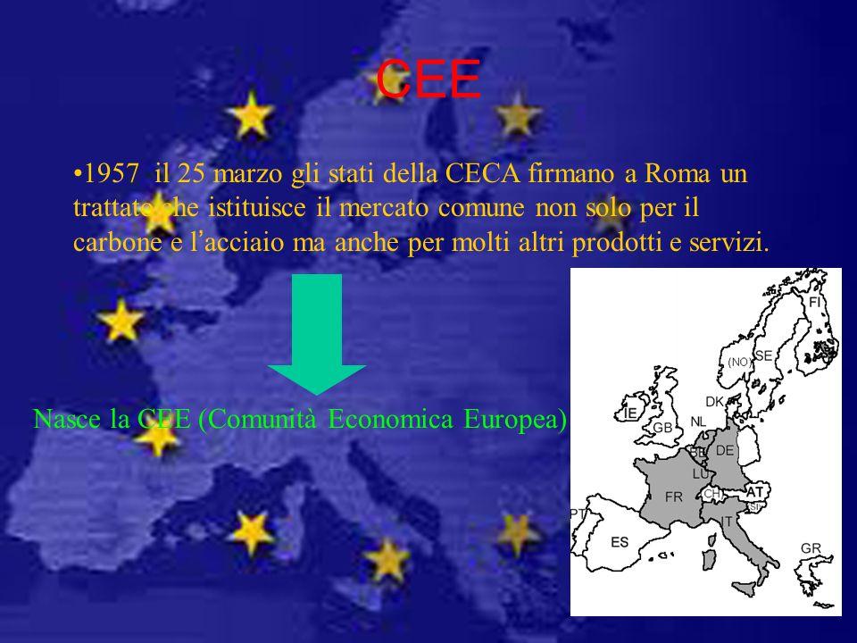 CEE 1957 il 25 marzo gli stati della CECA firmano a Roma un trattato che istituisce il mercato comune non solo per il carbone e lacciaio ma anche per