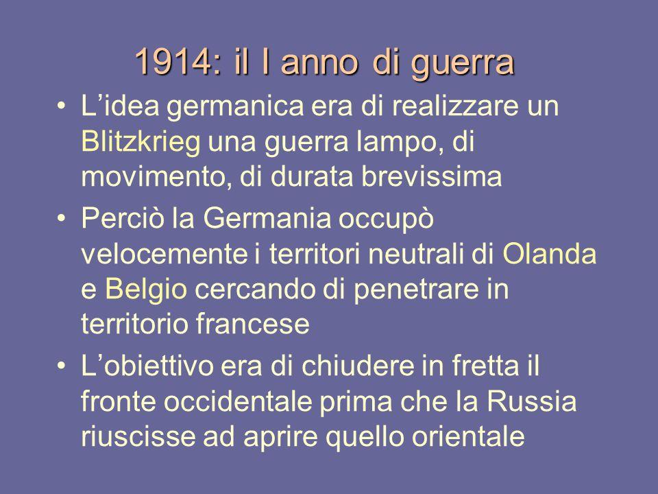 1914: il I anno di guerra Lidea germanica era di realizzare un Blitzkrieg una guerra lampo, di movimento, di durata brevissima Perciò la Germania occu