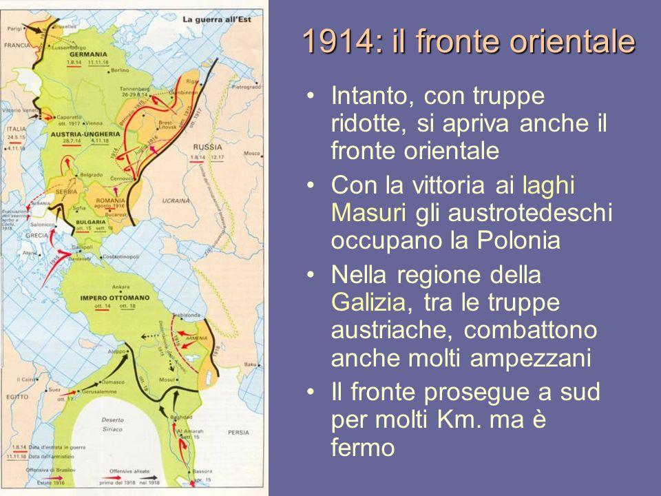 1914: il fronte orientale Intanto, con truppe ridotte, si apriva anche il fronte orientale Con la vittoria ai laghi Masuri gli austrotedeschi occupano