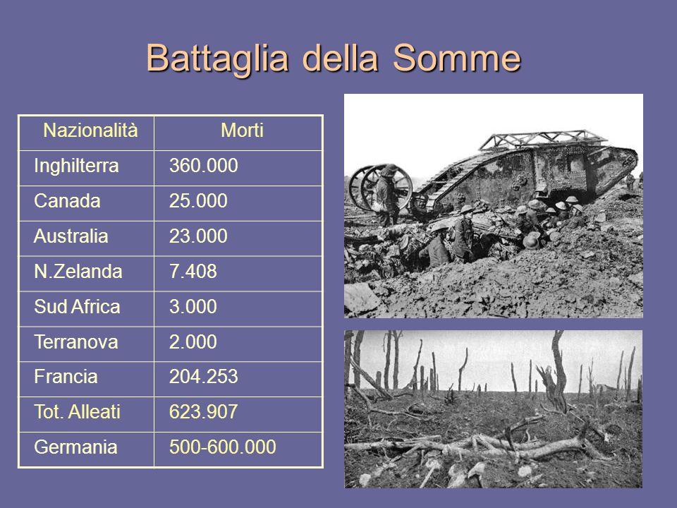 Battaglia della Somme NazionalitàMorti Inghilterra360.000 Canada25.000 Australia23.000 N.Zelanda7.408 Sud Africa3.000 Terranova2.000 Francia204.253 To