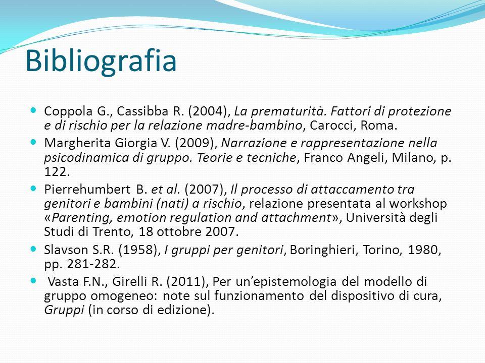 Bibliografia Coppola G., Cassibba R. (2004), La prematurità. Fattori di protezione e di rischio per la relazione madre-bambino, Carocci, Roma. Margher
