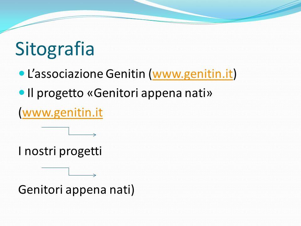 Sitografia Lassociazione Genitin (www.genitin.it)www.genitin.it Il progetto «Genitori appena nati» (www.genitin.itwww.genitin.it I nostri progetti Gen