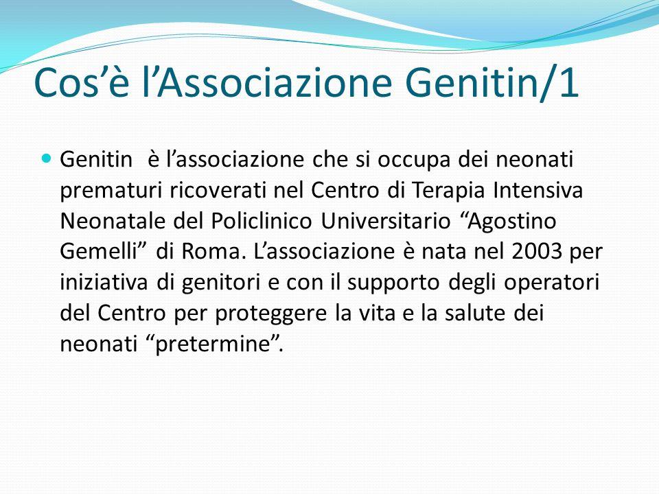 Cosè lAssociazione Genitin/1 Genitin è lassociazione che si occupa dei neonati prematuri ricoverati nel Centro di Terapia Intensiva Neonatale del Policlinico Universitario Agostino Gemelli di Roma.
