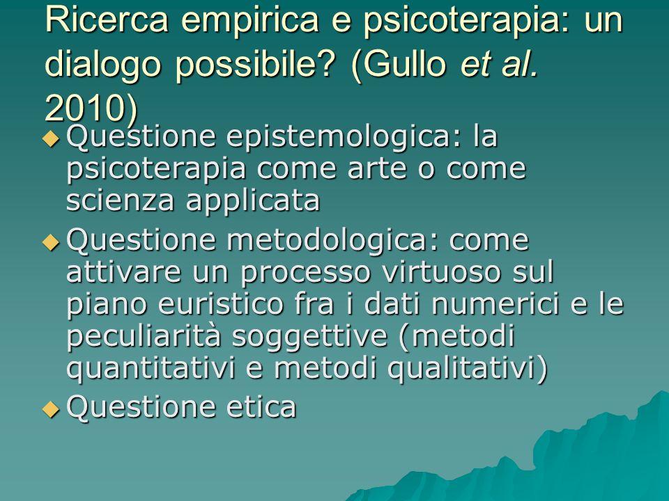 Ricerca empirica e psicoterapia: un dialogo possibile? (Gullo et al. 2010) Questione epistemologica: la psicoterapia come arte o come scienza applicat