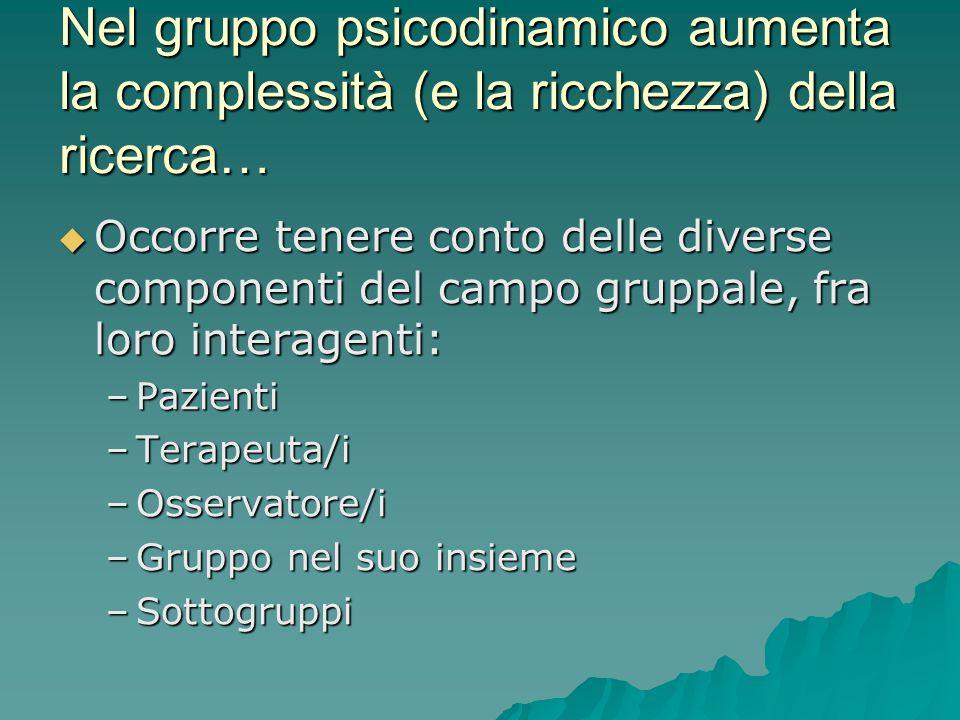 Nel gruppo psicodinamico aumenta la complessità (e la ricchezza) della ricerca… Occorre tenere conto delle diverse componenti del campo gruppale, fra