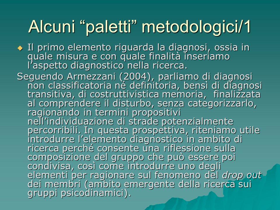 Alcuni paletti metodologici/1 Il primo elemento riguarda la diagnosi, ossia in quale misura e con quale finalità inseriamo laspetto diagnostico nella