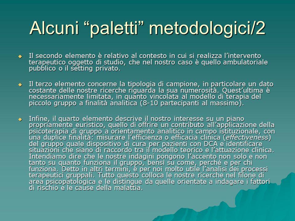 Alcuni paletti metodologici/2 Il secondo elemento è relativo al contesto in cui si realizza lintervento terapeutico oggetto di studio, che nel nostro