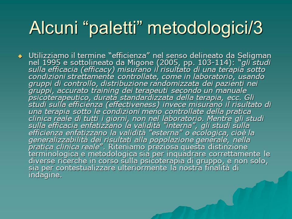 Alcuni paletti metodologici/3 Utilizziamo il termine efficienza nel senso delineato da Seligman nel 1995 e sottolineato da Migone (2005, pp. 103-114):