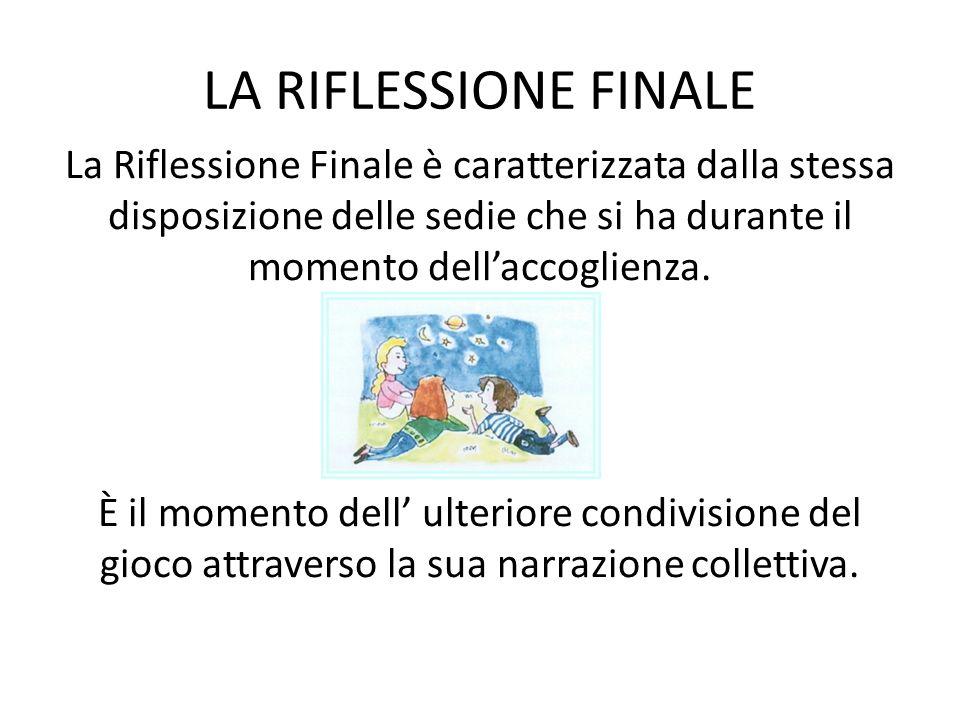 LA RIFLESSIONE FINALE La Riflessione Finale è caratterizzata dalla stessa disposizione delle sedie che si ha durante il momento dellaccoglienza.