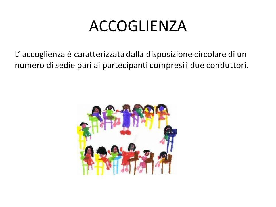 ACCOGLIENZA L accoglienza è caratterizzata dalla disposizione circolare di un numero di sedie pari ai partecipanti compresi i due conduttori.