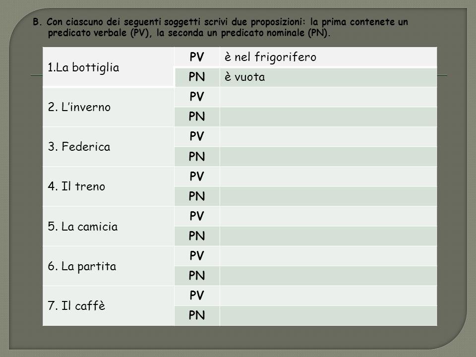 B. Con ciascuno dei seguenti soggetti scrivi due proposizioni: la prima contenete un predicato verbale (PV), la seconda un predicato nominale (PN). 1.