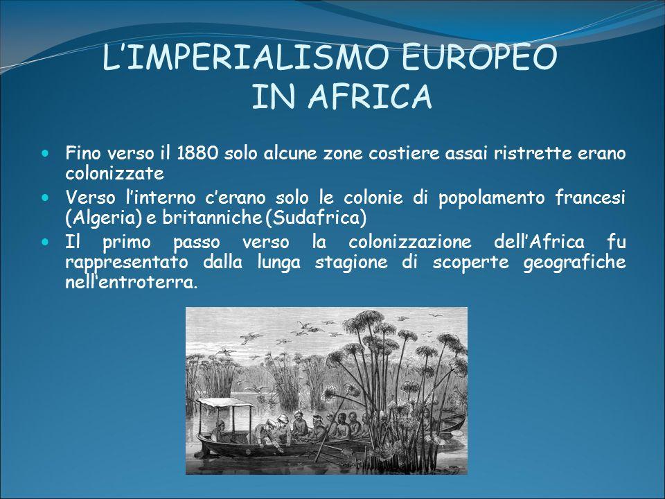 LIMPERIALISMO EUROPEO IN AFRICA Fino verso il 1880 solo alcune zone costiere assai ristrette erano colonizzate Verso linterno cerano solo le colonie d