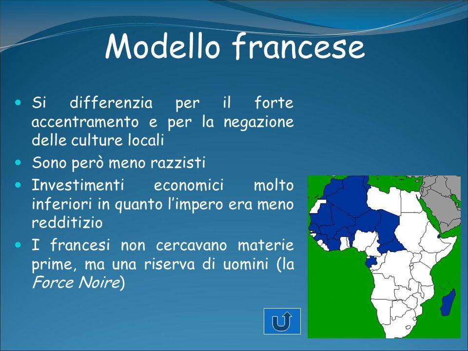 Modello francese Si differenzia per il forte accentramento e per la negazione delle culture locali Sono però meno razzisti Investimenti economici molt