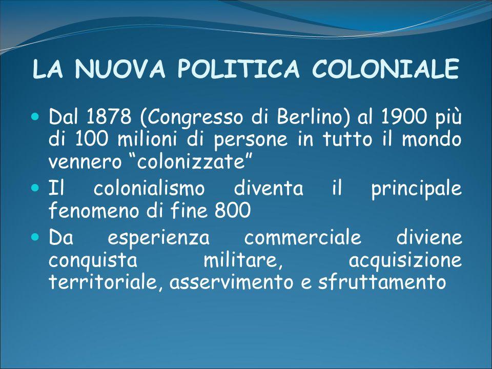 LA NUOVA POLITICA COLONIALE Dal 1878 (Congresso di Berlino) al 1900 più di 100 milioni di persone in tutto il mondo vennero colonizzate Il colonialism