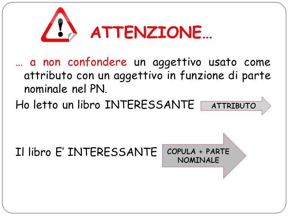 ATTENZIONE… … a non confondere un aggettivo usato come attributo con un aggettivo in funzione di parte nominale nel PN. Ho letto un libro INTERESSANTE