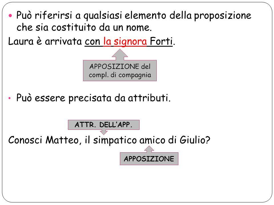 Può riferirsi a qualsiasi elemento della proposizione che sia costituito da un nome. Laura è arrivata con la signora Forti. Può essere precisata da at