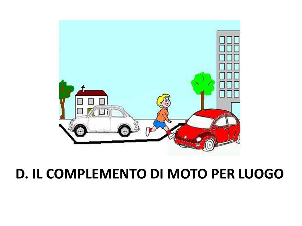 D. IL COMPLEMENTO DI MOTO PER LUOGO