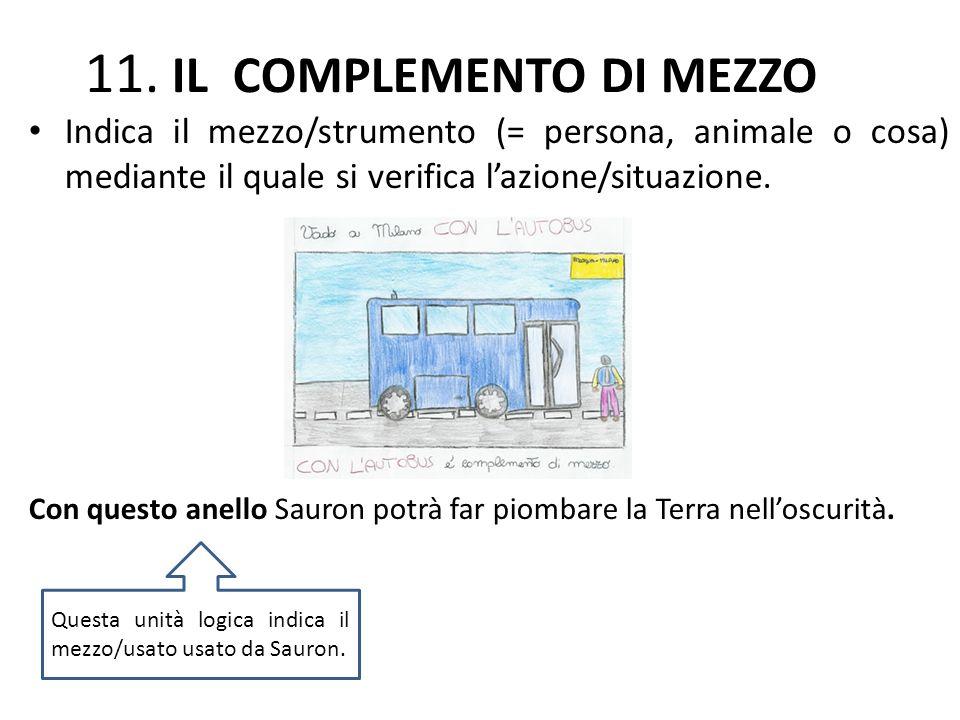 11. IL COMPLEMENTO DI MEZZO Indica il mezzo/strumento (= persona, animale o cosa) mediante il quale si verifica lazione/situazione. Con questo anello