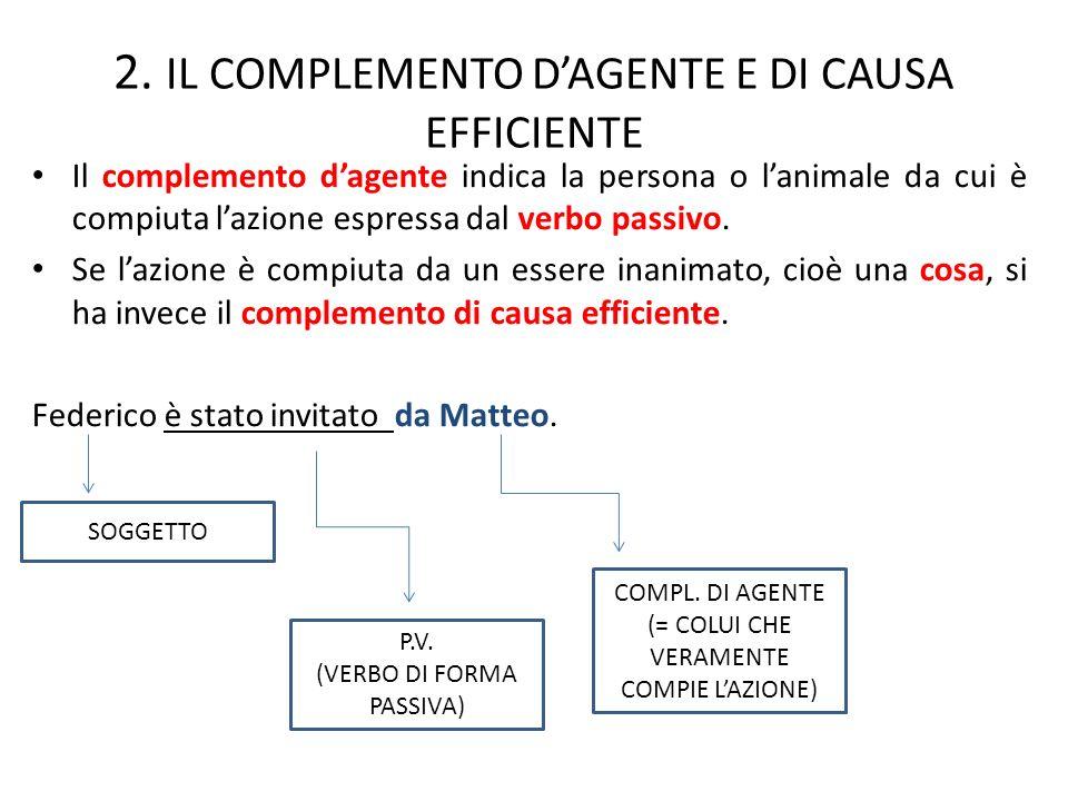2. IL COMPLEMENTO DAGENTE E DI CAUSA EFFICIENTE Il complemento dagente indica la persona o lanimale da cui è compiuta lazione espressa dal verbo passi