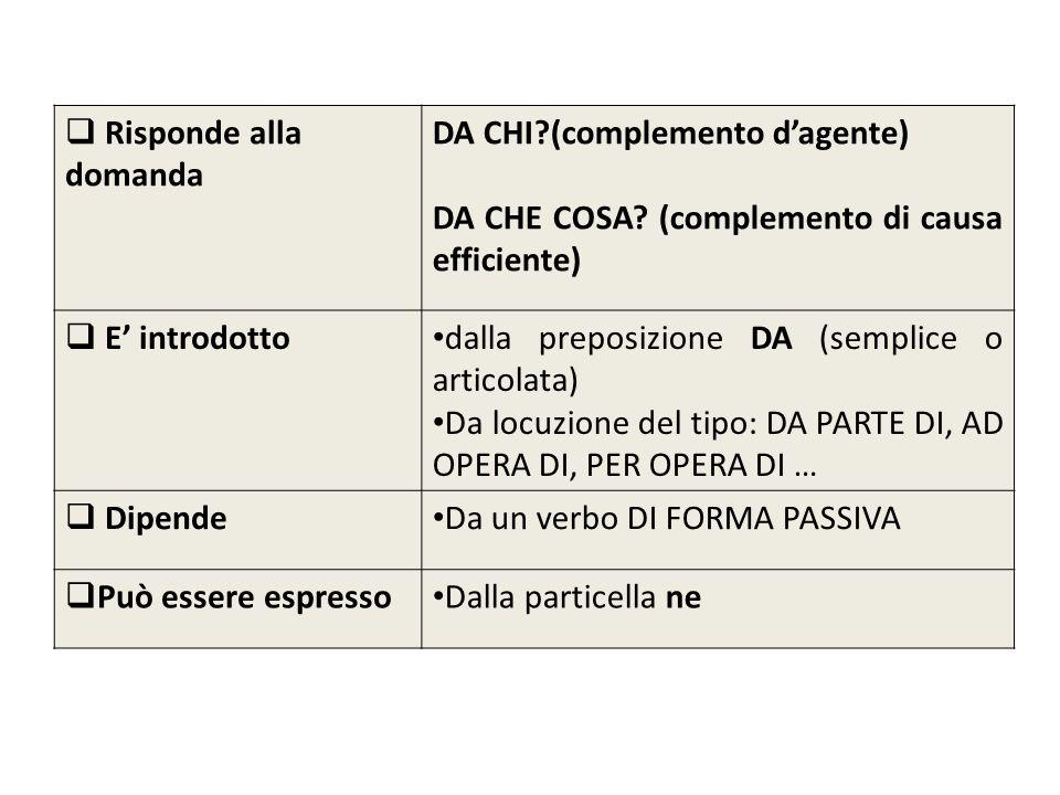 Risponde alla domanda DA CHI?(complemento dagente) DA CHE COSA? (complemento di causa efficiente) E introdotto dalla preposizione DA (semplice o artic
