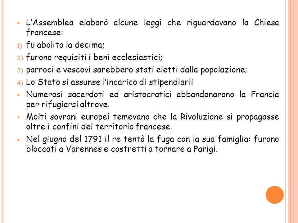 Il 12 settembre 1791 viene approvata la Costituzione:finisce lassolutismo e nasce la monarchia costituzionale.