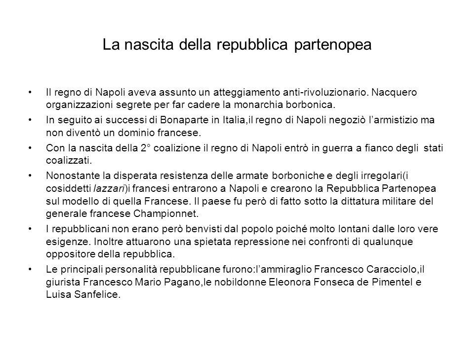 La nascita della repubblica partenopea Il regno di Napoli aveva assunto un atteggiamento anti-rivoluzionario. Nacquero organizzazioni segrete per far