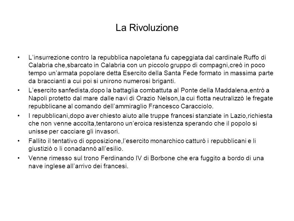 La Rivoluzione Linsurrezione contro la repubblica napoletana fu capeggiata dal cardinale Ruffo di Calabria che,sbarcato in Calabria con un piccolo gru