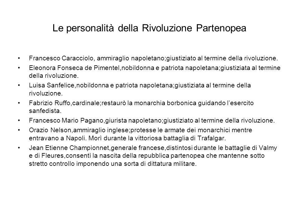 Le personalità della Rivoluzione Partenopea Francesco Caracciolo, ammiraglio napoletano;giustiziato al termine della rivoluzione. Eleonora Fonseca de
