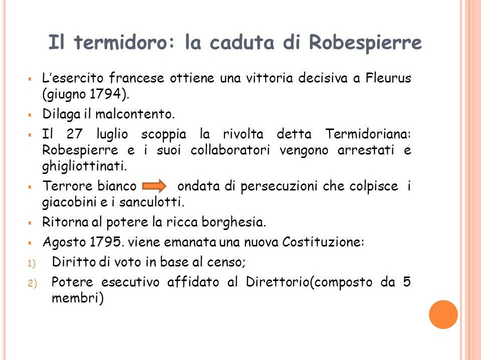 Il termidoro: la caduta di Robespierre Lesercito francese ottiene una vittoria decisiva a Fleurus (giugno 1794). Dilaga il malcontento. Il 27 luglio s