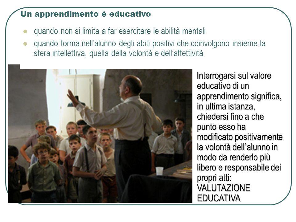 Un apprendimento è educativo quando non si limita a far esercitare le abilità mentali quando forma nellalunno degli abiti positivi che coinvolgono insieme la sfera intellettiva, quella della volontà e dellaffettività Interrogarsi sul valore educativo di un apprendimento significa, in ultima istanza, chiedersi fino a che punto esso ha modificato positivamente la volontà dellalunno in modo da renderlo più libero e responsabile dei propri atti: VALUTAZIONE EDUCATIVA Interrogarsi sul valore educativo di un apprendimento significa, in ultima istanza, chiedersi fino a che punto esso ha modificato positivamente la volontà dellalunno in modo da renderlo più libero e responsabile dei propri atti: VALUTAZIONE EDUCATIVA