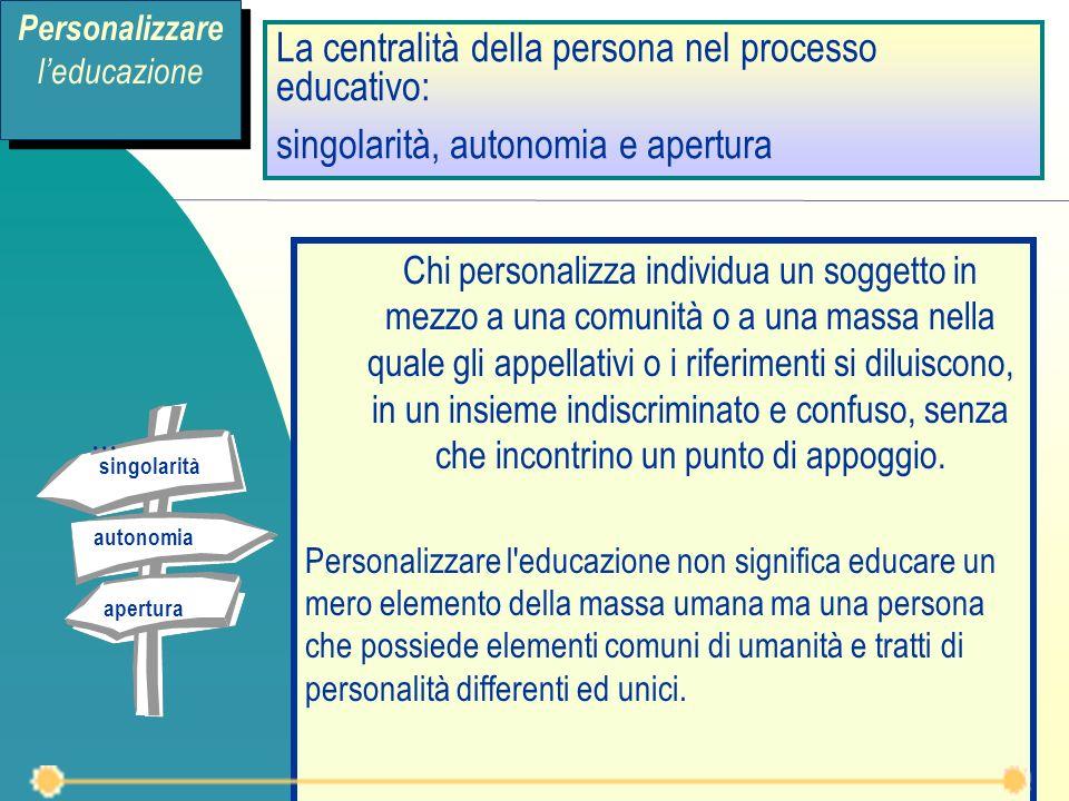 La centralità della persona nel processo educativo: singolarità, autonomia e apertura Chi personalizza individua un soggetto in mezzo a una comunità o