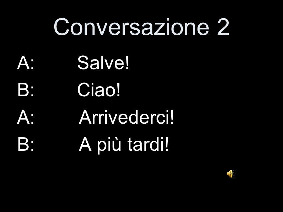Conversazione 1 A: Ciao! B: Buon Giorno! A: Ci vediamo! B: A presto!