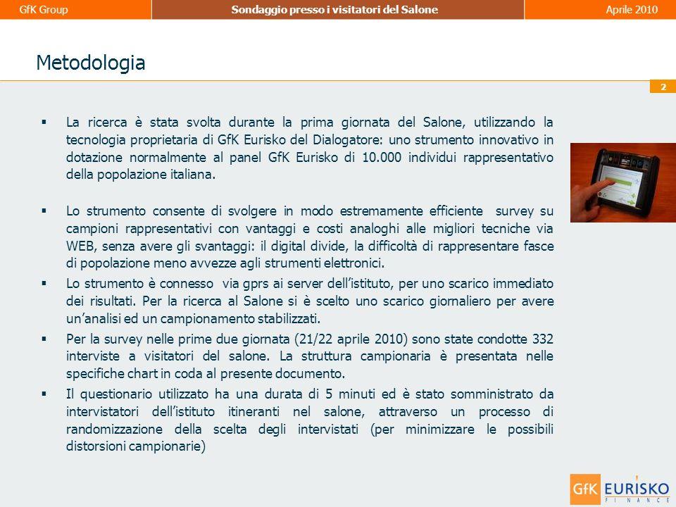 1 GfK GroupSondaggio presso i visitatori del SaloneAprile 2010 Premessa Nel presente documento sono raccolti i principali risultati dellattività di ricerca svolta da GfK Eurisko, in collaborazione con Assogestioni e Prometeia, durante il Salone.