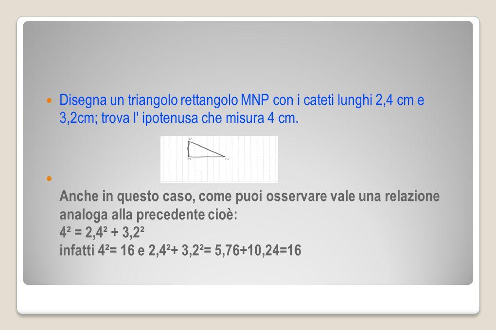 Disegna un triangolo rettangolo MNP con i cateti lunghi 2,4 cm e 3,2cm; trova l' ipotenusa che misura 4 cm. Anche in questo caso, come puoi osservare