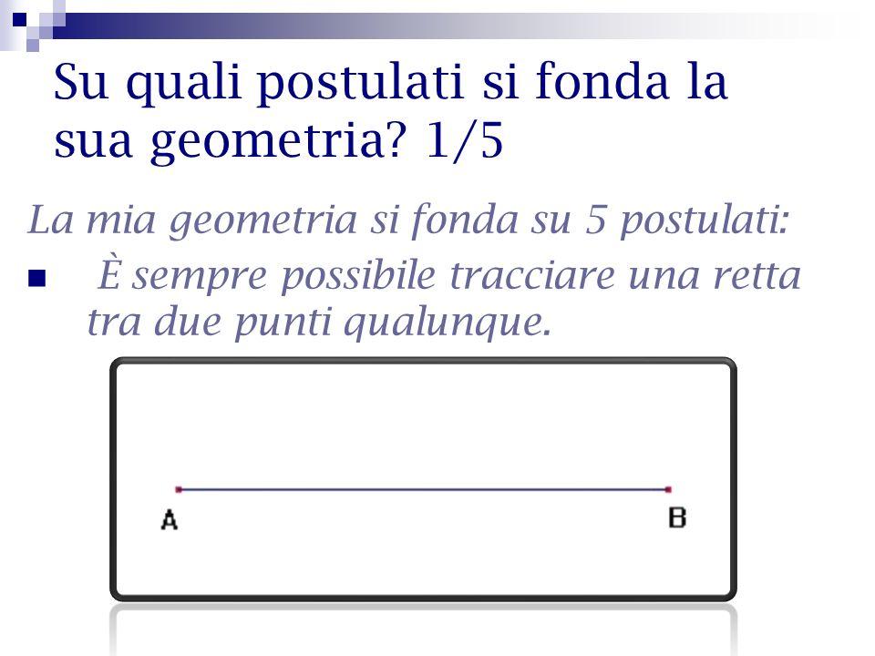 Su quali postulati si fonda la sua geometria? 1/5 La mia geometria si fonda su 5 postulati: È sempre possibile tracciare una retta tra due punti qualu