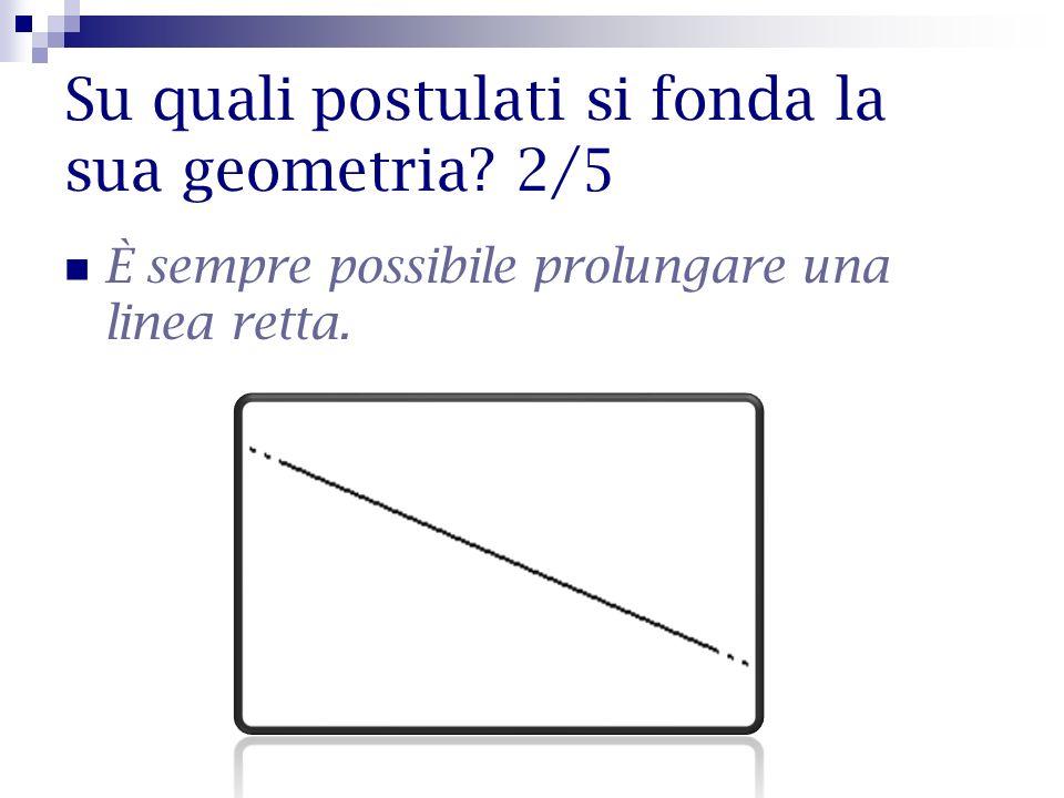 Su quali postulati si fonda la sua geometria? 2/5 È sempre possibile prolungare una linea retta.