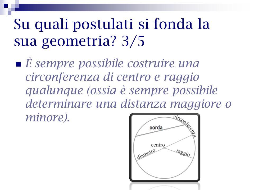 Su quali postulati si fonda la sua geometria? 3/5 È sempre possibile costruire una circonferenza di centro e raggio qualunque (ossia è sempre possibil